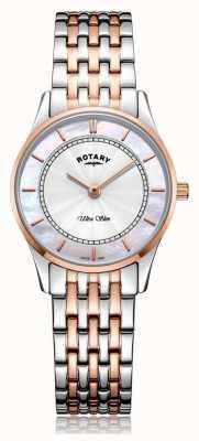 Rotary | bracelet bicolore ultra-mince pour femme | nacre | LB08302/07/D