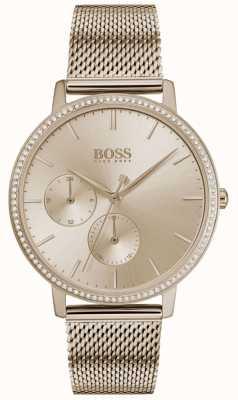 Boss | l'infini des femmes | maille en or rose | cadran sunray doré rose 1502519