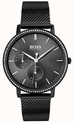 Boss | l'infini des femmes | bracelet en maille noire | cadran noir sunray 1502521