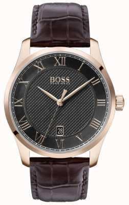 Boss | maître des hommes | bracelet en cuir marron | cadran gris | 1513740