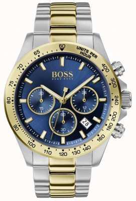 Boss | héros masculin sport lux | bracelet deux tons | cadran bleu | 1513767
