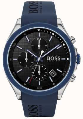 Boss | la vitesse des hommes | bracelet en caoutchouc bleu | cadran noir | 1513717