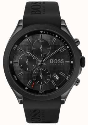 BOSS | la vitesse des hommes | bracelet en caoutchouc noir | cadran noir | 1513720