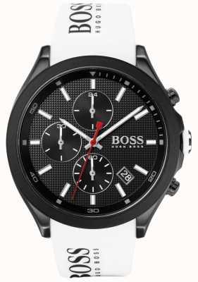 Boss | la vitesse des hommes | bracelet en caoutchouc blanc | cadran noir | 1513718