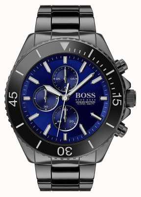 Boss | édition océan hommes | acier inoxydable noir | cadran bleu | 1513743