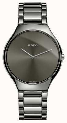 Rado Véritable montre fine bracelet en céramique grise avec cadran gris et bracelet en céramique R27955122