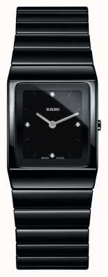 RADO Montre bracelet en céramique noire à cadran carré et diamants Ceramica R21702702
