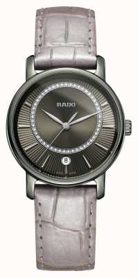 Rado | diamants diamants | bracelet en cuir gris | cadran gris | R14064715