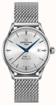 Certina | ds-1 powermatic 80 | bracelet en maille d'argent | cadran argenté | C0298071103102