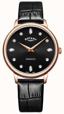 Rotary | kensington des femmes | cristal swarovski cadran noir | LS05174/04