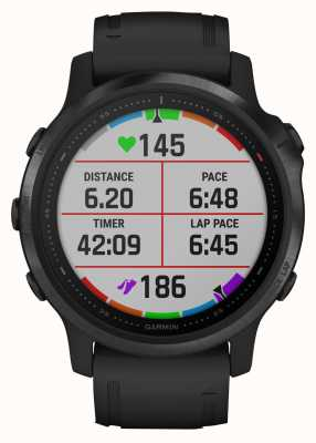 Garmin Verre Fenix 6s Pro Gorilla | montre intelligente multisports | bracelet en caoutchouc noir 010-02159-14