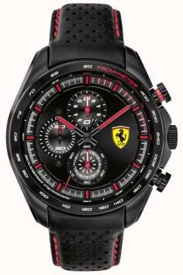 Scuderia Ferrari | coureur de vitesse pour hommes | bracelet en cuir noir | cadran noir | 0830647