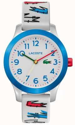 Lacoste 12.12 enfants | bracelet imprimé en caoutchouc blanc | cadran blanc | 2030021