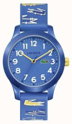 Lacoste | enfants 12.12 | bracelet bleu imprimé en caoutchouc | cadran bleu | 2030019