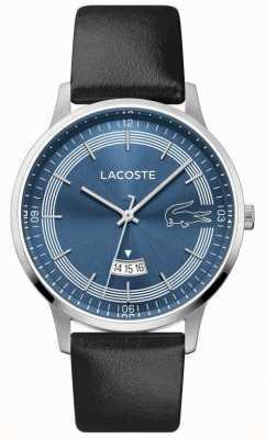 Lacoste | madrid des hommes | bracelet en cuir noir | cadran bleu | 2011034