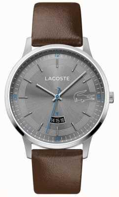 Lacoste | madrid des hommes | bracelet en cuir marron | cadran gris | 2011033