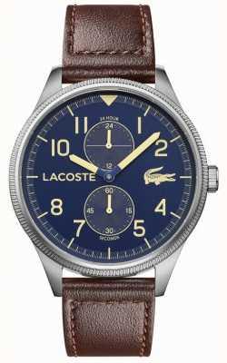 Lacoste | continental des hommes | bracelet en cuir marron | cadran bleu | 2011040