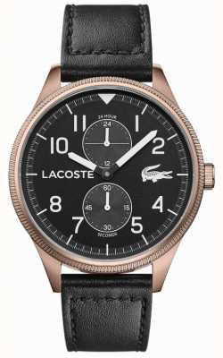 Lacoste | continental des hommes | bracelet en cuir noir | cadran noir | 2011042