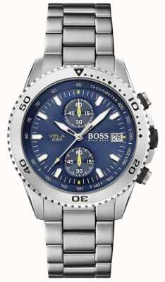 Boss   vela   chronographe   bracelet en acier   cadran bleu   1513775