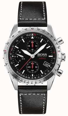 BOSS   aero   chronographe noir   bracelet en cuir noir   1513770