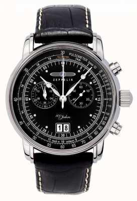 Zeppelin | hommes | 100 ans | date du chronographe | bracelet en cuir noir | 7690-2