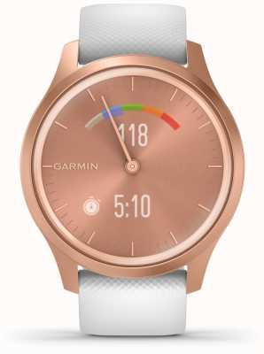 Garmin Style Vivomove | boîtier en aluminium or rose | sangle blanche 010-02240-00