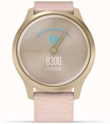 Garmin Style Vivomove | boîtier en aluminium or clair | sangle rose 010-02240-02