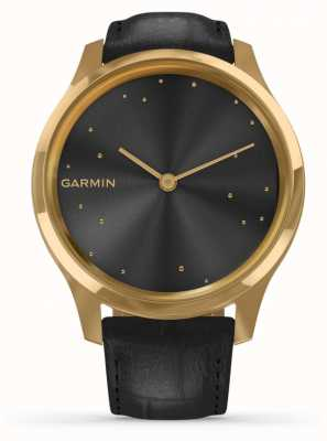 Garmin Vivomove 3 luxe | Boîtier pvd or 24 carats | cuir italien noir 010-02241-02