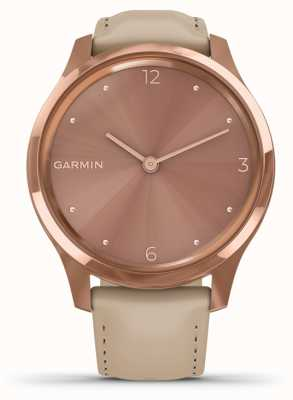 Garmin Vivomove luxe | Boîtier pvd en or rose 18 carats | cuir italien 010-02241-01