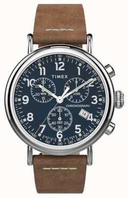 Timex | chrono standard 41mm | bracelet en cuir marron | cadran bleu | TW2T68900