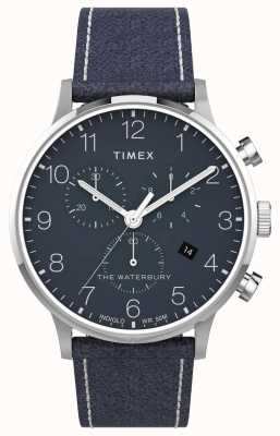 Timex | waterbury classic chrono 40mm | cuir bleu | cadran bleu | TW2T71300