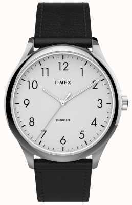 Timex | lecteur facile 40mm | bracelet en cuir noir | cadran blanc | TW2T71800