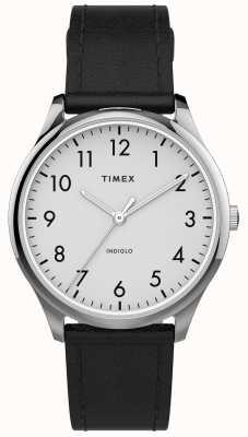 Timex | lecteur facile 32mm | bracelet en cuir noir | cadran blanc | TW2T72100