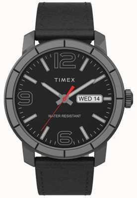 Timex | mod 44mm hommes | bracelet en cuir noir | cadran noir | TW2T72600