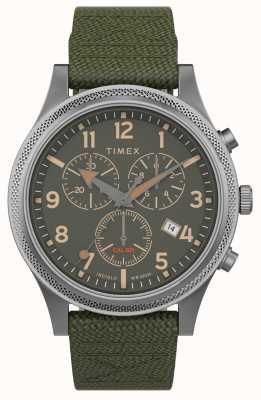 Timex | alliés lt chrono 40mm | bracelet en tissu vert | cadran vert | TW2T75800