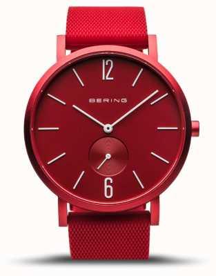 Bering | vraie aurore | bracelet en caoutchouc rouge | cadran rouge | 16940-599