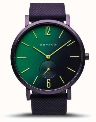 Bering | vraie aurore | bracelet en caoutchouc violet | cadran vert / violet | 16940-999
