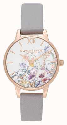 Olivia Burton | les femmes | jardin enchanté | bracelet en cuir gris lilas | OB16EG150