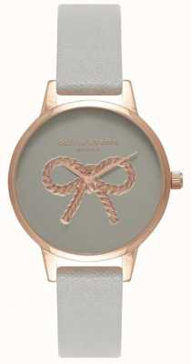 Olivia Burton   les femmes   Arc vintage 3d   bracelet en cuir gris OB16VB04