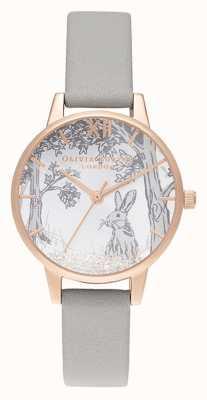Olivia Burton | les femmes | lapin d'hiver boule de neige | bracelet en cuir gris OB16SG06