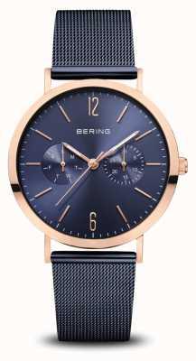 Bering | classique | or rose poli | bracelet en maille bleu | 14236-367
