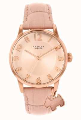 Radley Rue de Liverpool   bracelet en cuir rose   cadran rose   RY2872