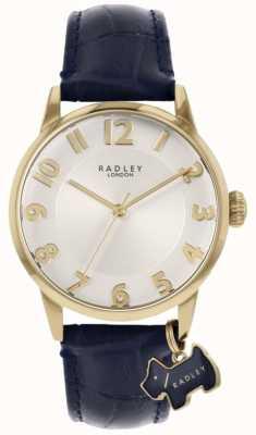 Radley Rue de Liverpool | bracelet en cuir bleu | cadran argenté | RY2868