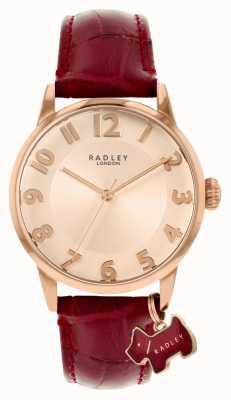 Radley Rue de Liverpool | bracelet en cuir bordeaux | cadran en or rose | RY2866