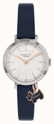 Radley Rue Selby | bracelet en cuir bleu marine | cadran argenté | RY2861