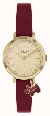 Radley Rue Selby | bracelet en cuir bordeaux | cadran en or | RY2862