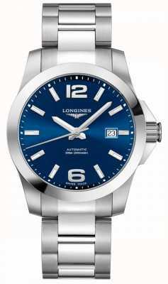 Longines Hommes   conquête sportive   cadran bleu   acier inoxydable L37774996