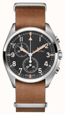 Hamilton L'aviation kaki   pilote pionnier   chronographe   cuir marron H76522531