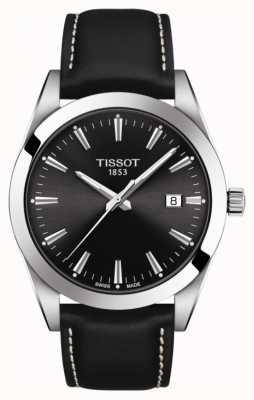 Tissot Gentleman | bracelet en cuir noir | cadran noir | T1274101605100
