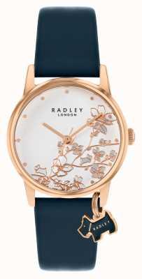 Radley Floral botanique | bracelet en cuir bleu marine | cadran floral argenté | RY2880